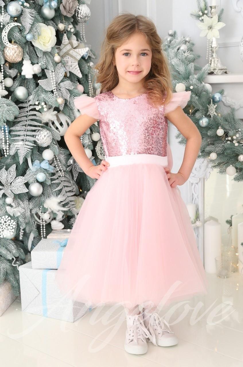 b7d1b1e66f587e6 Пышное платье для девочки с розовыми пайетками - Каталог angelove.com.ua