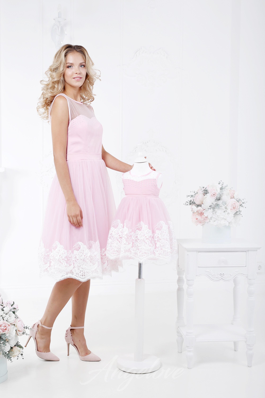 983f1c70036f563 ... Пышное платье для девочки с широким кружевом (нежно-розовое)